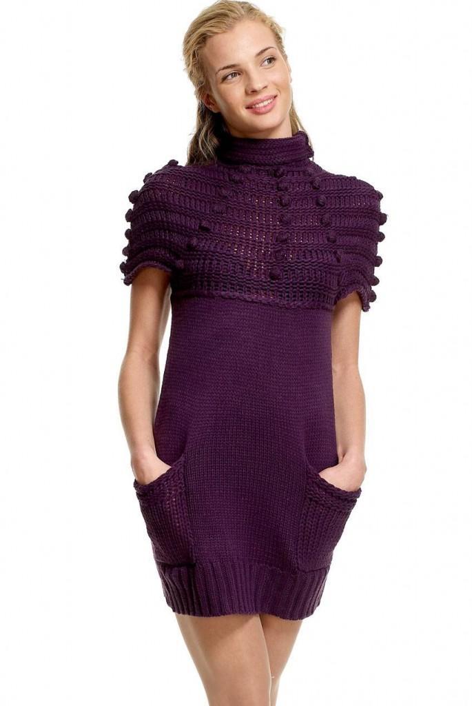 В театр можно надеть элегантное вязаное платье из тонкой пряжи.