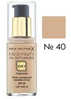 Основа тональна Max Factor FACEFINITY ALL DAY FLAWLESS 3-IN-1 № 40, слонова кістка, 30 мл