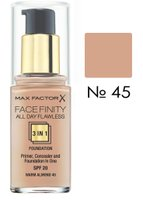 Основа тональна Max Factor FACEFINITY ALL DAY FLAWLESS 3-IN-1 № 45, світло-бежевий, 30 мл
