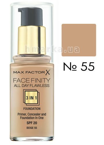 Фото Основа тональна Max Factor FACEFINITY ALL DAY FLAWLESS 3-IN-1 № 55, бежевий, 30 мл № 1
