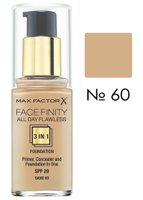 Основа тональна Max Factor FACEFINITY ALL DAY FLAWLESS 3-IN-1 № 60, пісочний, 30 мл