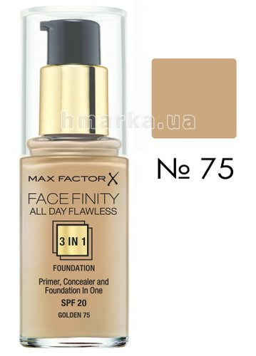 Фото Основа тональна Max Factor FACEFINITY ALL DAY FLAWLESS 3-IN-1 № 75, легка засмага, 30 мл № 1