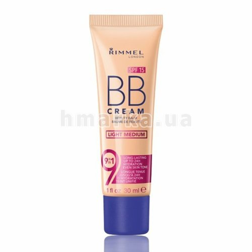 Фото Основа тональна RIMMEL BB CREAM 9-in-1, № 03 Light medium, 30 мл № 1